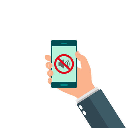 No speaker, No sound icon sign. Hand holding mobile phone without sound. Silent mode icon. Vector Vektorgrafik