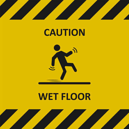 Caution, wet floor. Warning sign. Falling person silhouette. Industrial tape. Vector