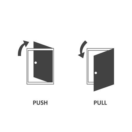 Set open door. Push door icon and pull door icon. Arrow symbol. Vector