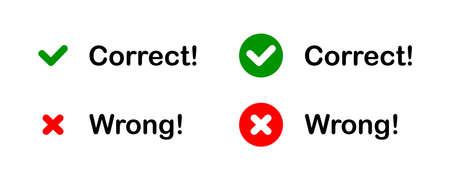 Set checkmark icons set. Correct and wrong concept. Tick and cross sign. Vector