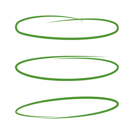 Set of highlights. Green hand drawn elements for selecting text. Sketch oval. Vector
