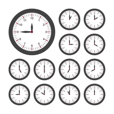 Set of round clocks for every hour. Analog clock with circle shape, time and minutes. Vector Векторная Иллюстрация