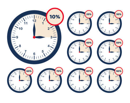 Set limited time offer. Different sale percents set. Collection analog clock icon. Discount last hours offer. Vector  イラスト・ベクター素材