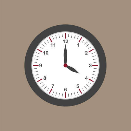 Gray wall clock icon in flat style on dark background. Four o'clock. Office clock. Vector