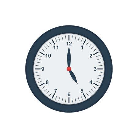 Blue wall clock icon in flat style. Five o'clock. Office clock. Vector Çizim