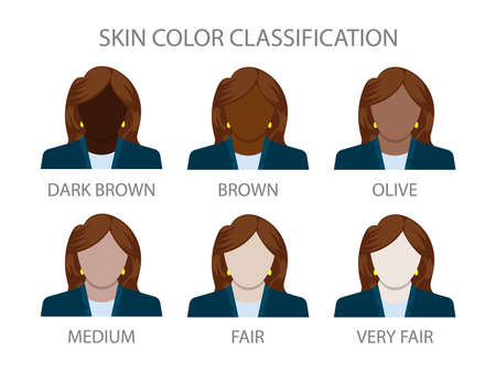Skin color classification. Different woman skin tones. Vector