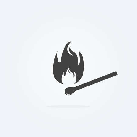 Icon of safety match. Fire, light, flames. Burning match icon on gray background. Vector