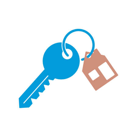 House key chain with two key. Blue key with trinket icon. Vector