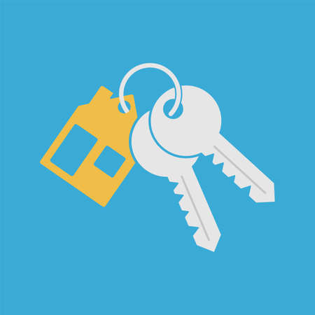 Bunch key icon with trinket. House key chain with two keys on blue background. Vector