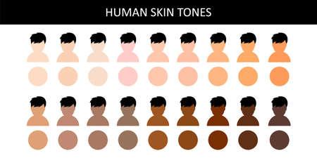 Human skin tones. Human skin tones. Various body skin color. Vector