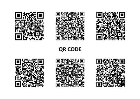 Set of QR code icon. Sample for smartphone scanning. Various qr code for business. Collection qr code. Vector