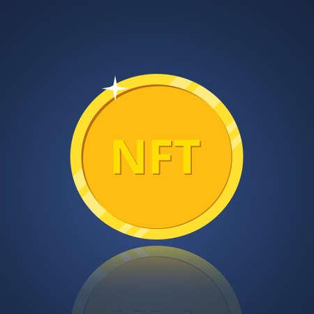 NFT non fungible token. Non-renewable token. Crypto art. Nft golden coin icon. Vector illustration Vecteurs