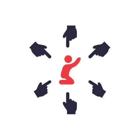 Social Bullying Icon. Harassment, Social Abuse and Domestic Violence Silhouette pictogram. Group Bullying Icon. Verbal and Physical Children Abuse. Vector illustration