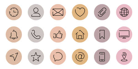 Highlights Cover Icons. Set of Website Contact Info Icons. Highlights Stories Covers Line Pictogram for Business Card. Editable stroke. Vector illustration