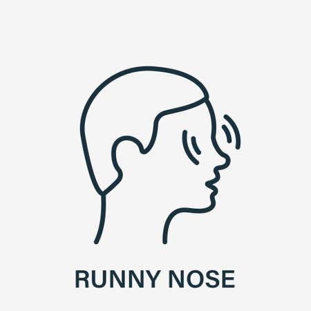 Runny Nose Line Icon. Nose Pain, Itch, Inflammation or Ache Linear Icon. Rhinitis, Allergy or Nasal Mucus Outline Pictogram. Sign for Medical Poster. Editable stroke. Vector illustration