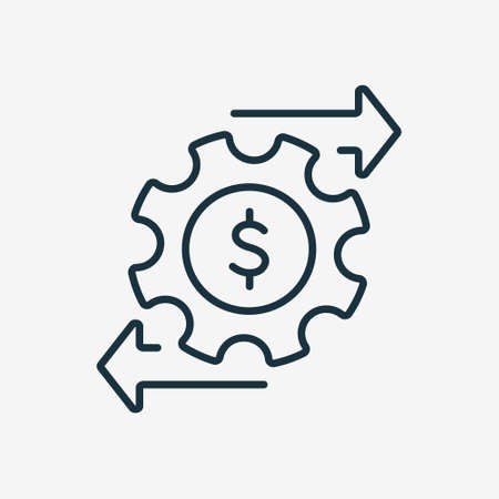 Financial Money Management Line Icon. Operating Cost symbol. Gear and Arrow Line Icon. Process of Making Money. Editable stroke. Vector illustration Ilustracje wektorowe