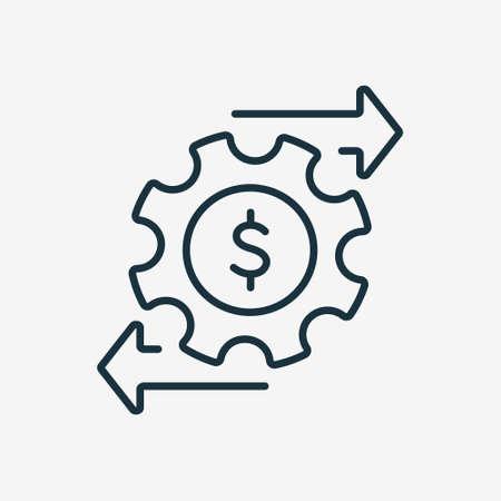 Financial Money Management Line Icon. Operating Cost symbol. Gear and Arrow Line Icon. Process of Making Money. Editable stroke. Vector illustration Vektoros illusztráció