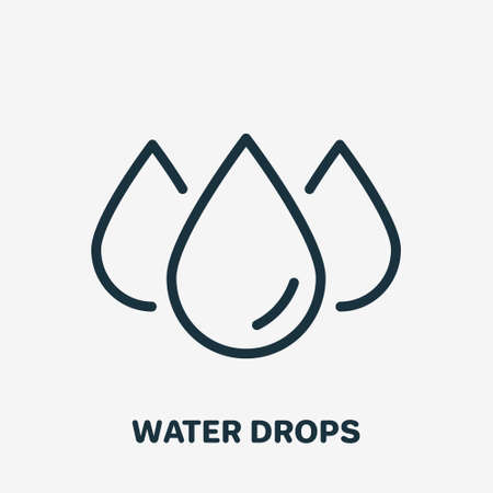 Water Drops Linear Icon. Droplet of Water Line Pictogram. Editable stroke. Vector illustration