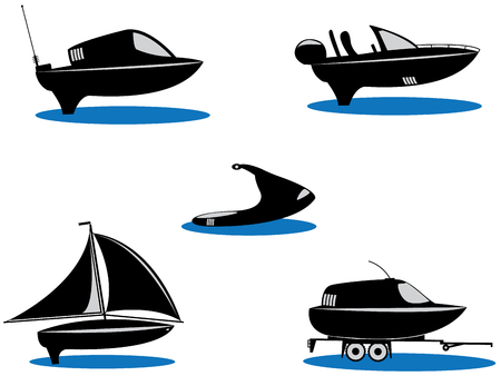 Silhouette of the five boats  Vector