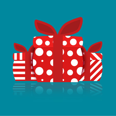 red gift box: Separated red gift box.