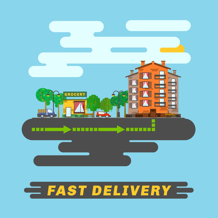 informs: Cityscape, informs fast delivery service.