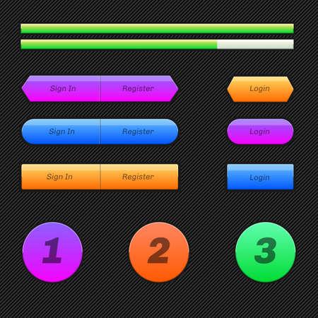 status: Set of flat buttons on the dark background. Status bar. Illustration