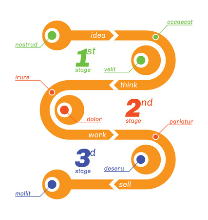 snakes and ladders: Snake like infographics, from start to finish, 3 steps.
