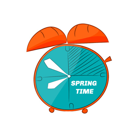 Doodle table clock. Spring time. Vector