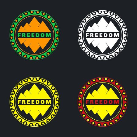 Mountain badge set. Can be used as stickers, icons, background for packages. Set of 4 pieces.