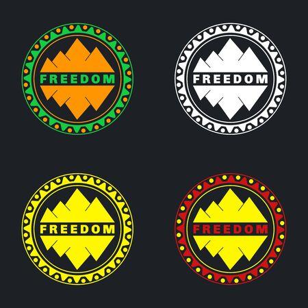 Mountain kenteken in te stellen. Kan gebruikt worden als stickers, pictogrammen, achtergrond voor pakketten. Set van 4 stuks.