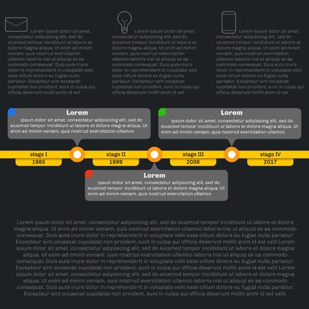 cronologia: Infografía plantilla de línea de tiempo. Progreso Horizontal. Estilo plano, limpio y sencillo. Fondo oscuro.