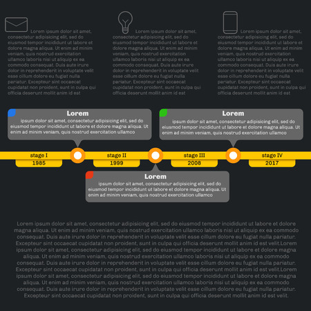 chronology: Timeline template infographics. Horizontal progress. Flat style, clean and simple. Dark background.