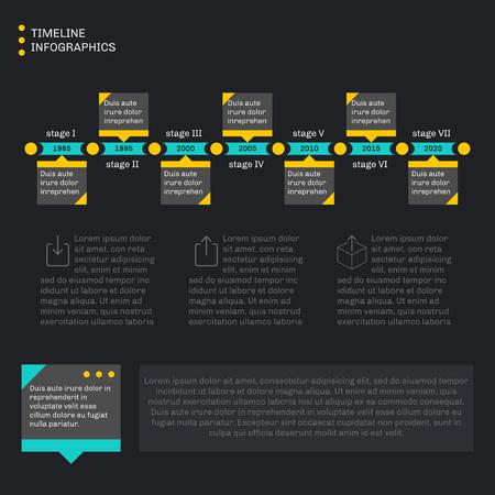 cronologia: Infografía plantilla de línea de tiempo. Progreso Horizontal. Estilo plano, sencillo y limpio. Fondo oscuro. Vectores