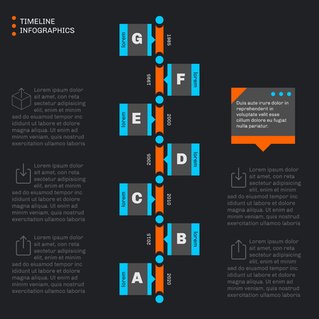 decade: Timeline template infographics. Vertical progress. Flat style. Dark background. Illustration