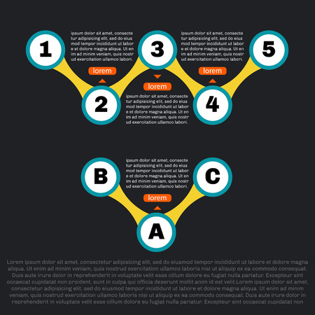 sequence: Sequence template infographics. Two parts with footnotes. Clean and simple. Dark background.