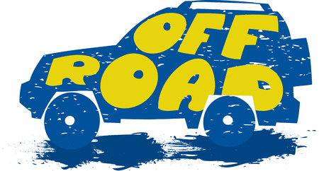 ar: Сar with the text off road. Drawn by hand. Сan be used as a logo, backgrounds, etc. Illustration