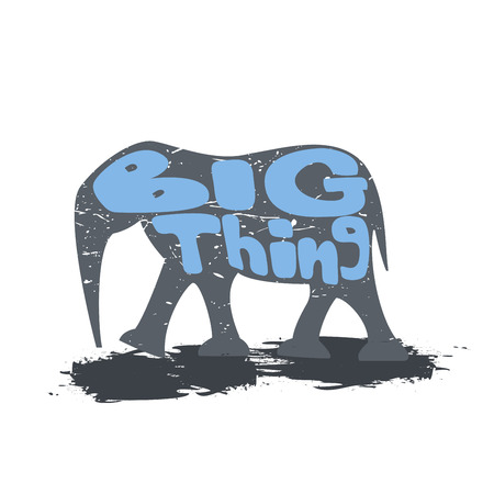 Large elephant walking with the inscription. Big thing. Drawn by hand. Сan be used as a logo, backgrounds, desert theme. Vector
