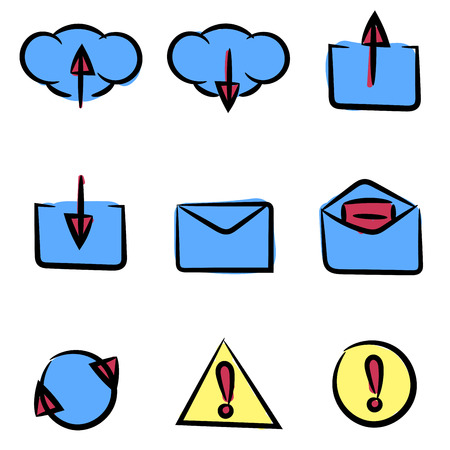 Set of icons painted by hand. Can be used in web or mobile software. Clean and simple. Vector