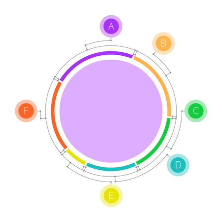 Pie chart with satellites connected by lines. Clean and simple.