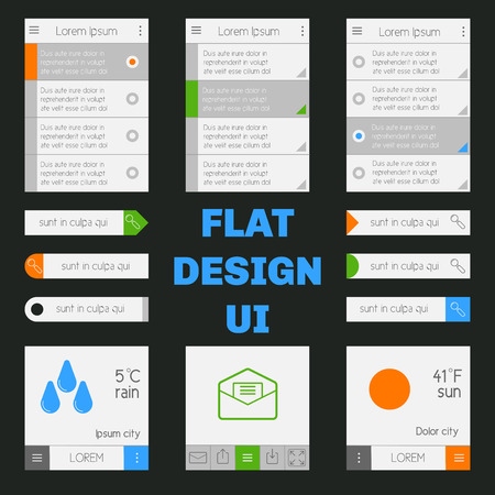 Set of templates mobile interface. Flat  UIUX. Can be used in mobile, tablet or web parts. Clean and simple. Vector