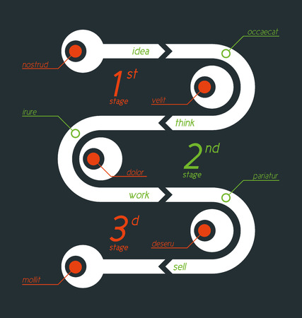 Twisted info graphic with separate sections designated by digits and title. Flat, clean and simple design.