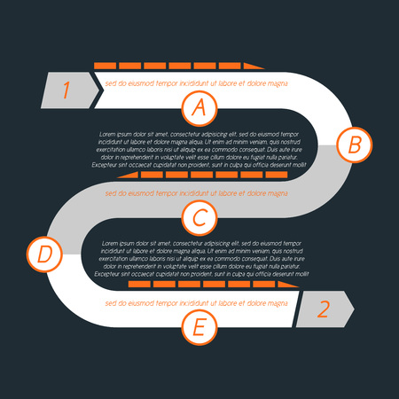 Twisted timeline with separate sections designated by letters. Begins and ends with a digit. Simple and clean. Illustration