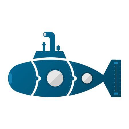 Submarine divided like a puzzle, with portholes. Raise the periscope. Illustration