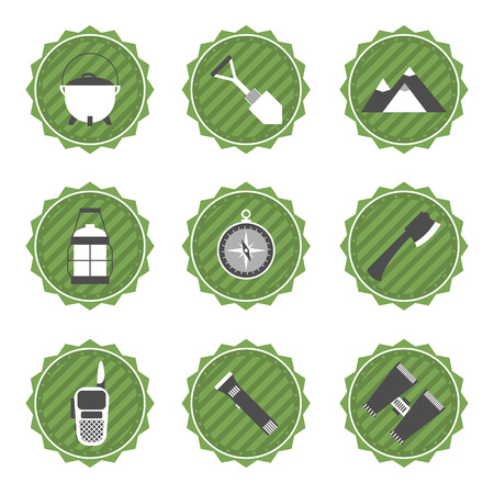 gas lamp: Set of camping and outdoor adventure stickers logo badges labels. Illustration