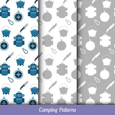 Seamless pattern on the camping theme, has three backgrounds. Vector
