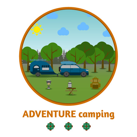 gas lamp: Camping forest background, with stuff and car, flat design.