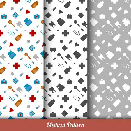 Seamless pattern on the medical theme, three backgrounds inside. Flat. Vector