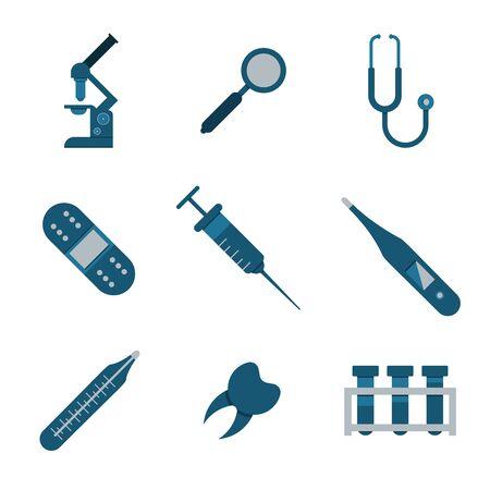 icone sanit�: Medical and health icons set. Nine icons. Flat.