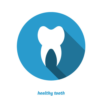 dental hygienist: Tooth in circle, flat style icon, long shadow, dental. Illustration