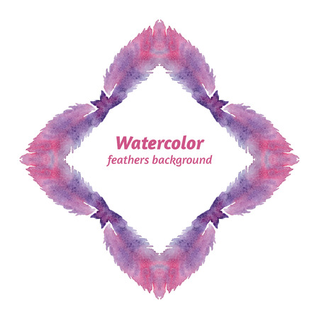 lozenge: Watercolor frame, it consists of feathers, hand drawn. Vector